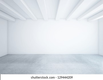 white empty loft room and concrete floor