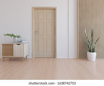 White empty minimalist room interior with door, dresser, vase on a wooden floor, decor on a large wall, white landscape in window. Background interior. Home nordic interior. 3D illistration