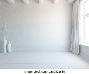 White empty minimalist room interior with vases on a wooden floor, decor on a large wall, white landscape in window with curtains. Background interior. Home nordic interior. 3D illustration