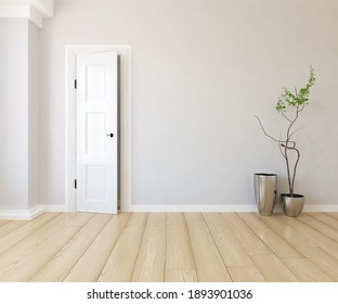 White empty minimalist room interior with vases on a wooden floor, decor on a large wall, white landscape in window. Background interior. Home nordic interior. 3D illustration