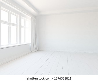 White empty minimalist room interior with wooden floor, decor on a large wall, white landscape in window with curtains. Background interior. Home nordic interior. 3D illustration