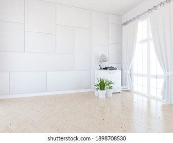 White empty minimalist room interior with dresser on a wooden floor, decor on a large wall, white landscape in window with curtains. Background interior. Home nordic interior. 3D illustration