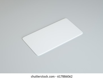 White empty paper card on gray background. Template for your content. 3d illustration