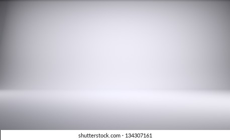 White empty photo studio of a rectangular shape. 3d Render