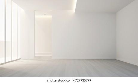 White empty room in apartment or hotel for artwork - Minimal design for Interior artwork - 3D Rendering
