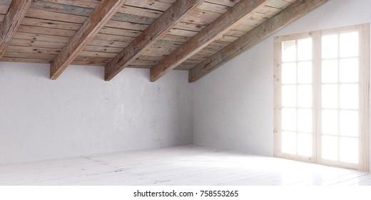 White empty room in attic with wooden door and lumber roof.3D rendering.