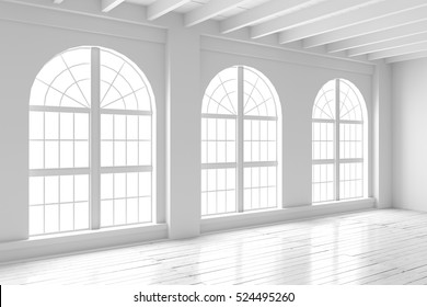 White empty room with big arched windows and wooden floor. Loft interior mock up. Home or office blank space. 3d render high quality image.
