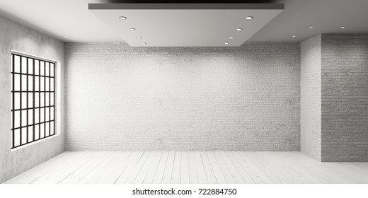 White empty room with big window in loft style. Wooden floor and brick wall in a modern interior. 3D rendering.
