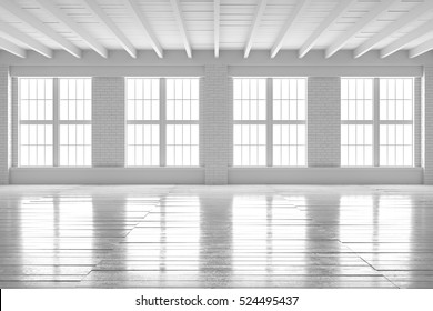 White empty room with big windows, wooden floor and brick walls. Loft interior mock up. Home or office blank space. 3d render high quality image.