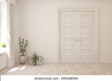 White empty room with door and home plants. Scandinavian interior design. 3D illustration