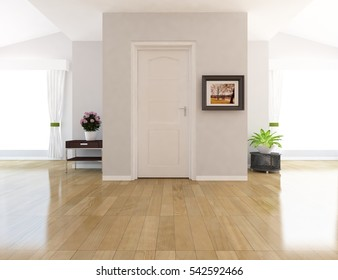 white empty room with a door. Living room interior. Scandinavian interior. 3d illustration