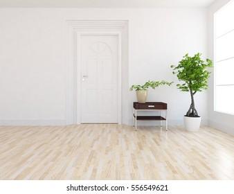 white empty room with a door. Living room interior. Scandinavian interior design. 3d illustration