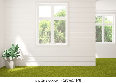 White empty room with grass floor and summer landscape in window. Nature room concept. Scandinavian interior design. 3D illustration