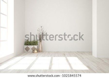 White Empty Room Home Decor Scandinavian Stock Illustration