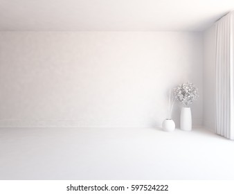 white empty room interior with plants and white landscape in window. Scandinavian interior design. 3D illustration