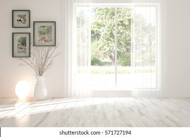 White empty room with lamp and green landscape in window. Scandinavian interior design. 3D illustration