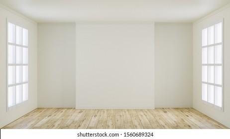 White empty room, Living room - 3D Rendering