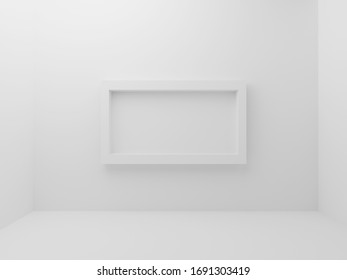 White empty room with mockup photo frame border in middle of wall background. Abstract and decorative object concept. Minimal architecture and simplicity theme. 3D illustration render graphic design