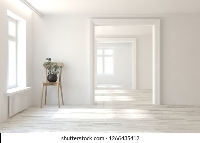 White empty room with open door and simgle chair. Scandinavian interior design. 3D illustration