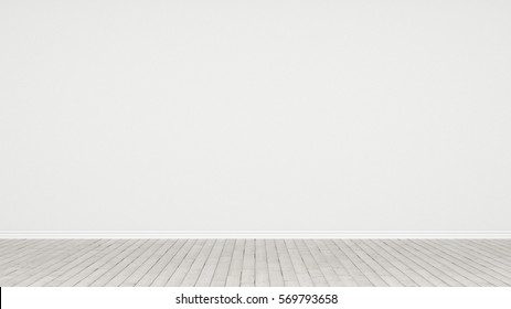white empty room as stage with wooden floor 3d rendering