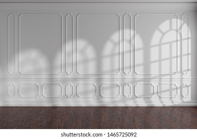 White empty room wall interior with sunlight from rounded windows, decorative classic style molding frames on walls, dark wooden parquet floor and white baseboard, 3d illustration