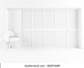 white empty room with wardrobe. White interior.3d illustration