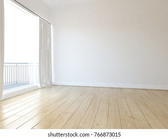 White empty scandinavian room interior with large window and wooden floor. Home interior. 3d illustration