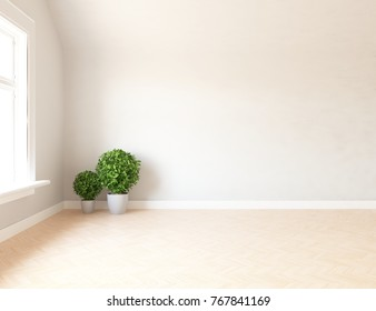 White empty scandinavian room interior with large wall and wooden floor. Home interior. 3d illustration
