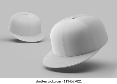 White empty snapback on a white background. Mock up. 3d rendering