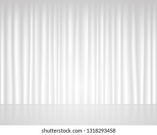 White empty stage with curtain wedding template.