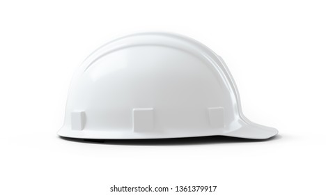 White engineer construction helmet isolated on white background. 3D rendering