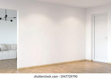 Weiße Eingangshalle mit weißer Wand, beleuchtet durch Scheinwerfer, Eingangstür, Parkettboden, Tür zum Wohnzimmer mit schwarzem Kronleuchter auf dem weißen Sofa. 3D-Darstellung