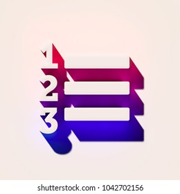 White Enumeration List Icon With Pink and Blue Shadows. 3D Illustration of White Direction, Learning, List, Numbered, Process, School Icons With Pink and Blue Gradient Shadows.