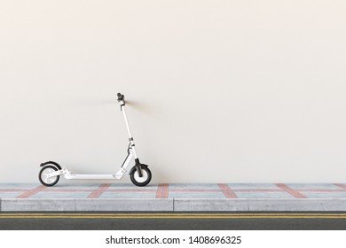 White e-scooter parked on sidewalk on a wall for urban mobility (3d rendering)