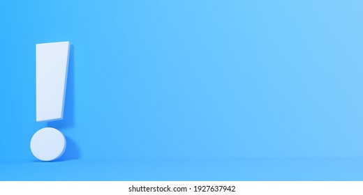 White exclamation mark on blue background. Minimal ideas concept. 3D rendering, 3D illustration