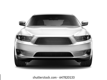 White executive car - front view (3D render)
