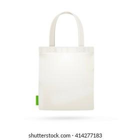 White Fabric Cloth Bag Tote. illustration