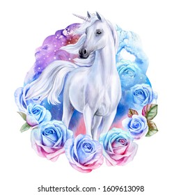 White fairytale unicorn with blue and pink roses. White horse in flower wreath or ornament isolated on a white background. Beautiful Komos, galaxy with stars. Watercolor. Illustration. Tamplate