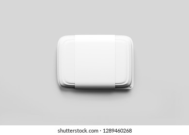White Fast Food Container with label Packaging Package Packing Pack Isolated on white Background.Top view .3D rendering.Mock up.