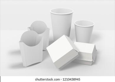 White Fast Food Packaging. 3D rendering