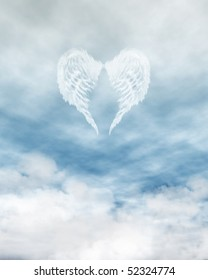 White feathered angel wings forming a heart shape on a background of blue sky and clouds