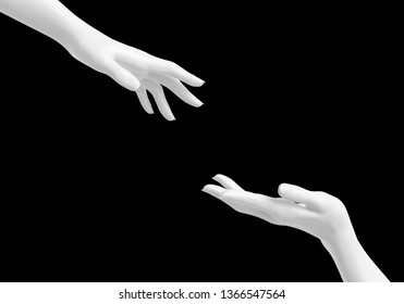 White female helping hands isolated on black mask background, rescue concept, mannequin arms, 3d rendering,