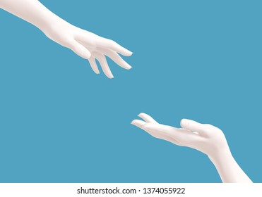 White female helping hands on blue background, rescue concept, mannequin arms, 3d rendering,