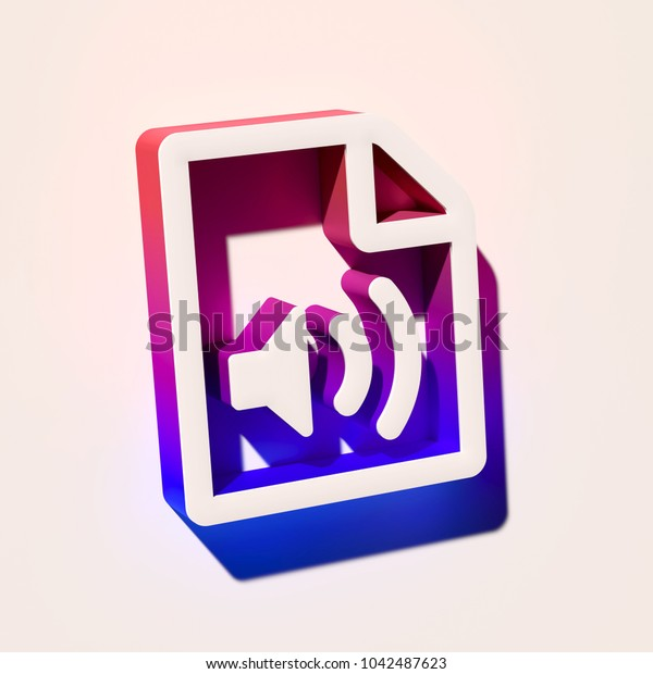 White File Audio Icon. 3D Illustration of White Audio, Document, Extension, File, Media, Multimedia Icons With Pink and Blue Gradient Shadows.
