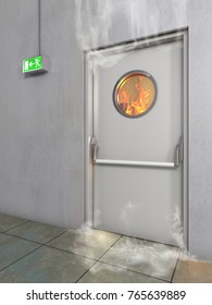 White fire prevention door , 3D Illustration