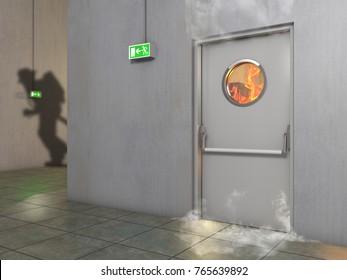 White fire prevention door , 3D Illustration