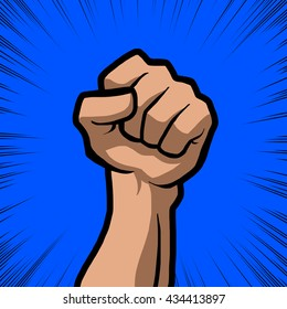 white fist with blue background