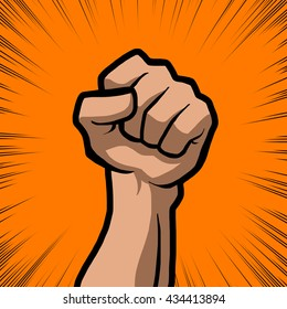 white fist with orange background