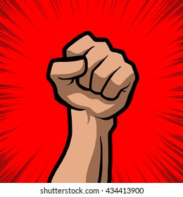 white fist with red background
