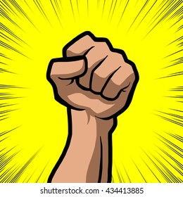 white fist with yellow background